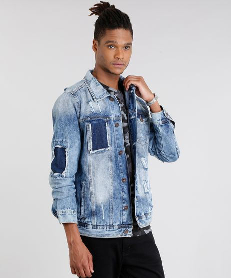 Jaqueta-Jeans-Masculina-Trucker-Destroyed-Manga-Longa-em-Algodao---Sustentavel-Azul-Medio-9058204-Azul_Medio_1