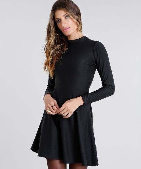 Vestido-Feminino-Gola-Alta-Curto-com-Vazado-Manga-Longa-Preto-9130817-Preto_1