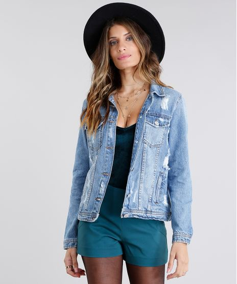 18034e8189 Jaqueta Jeans Feminina com Recorte