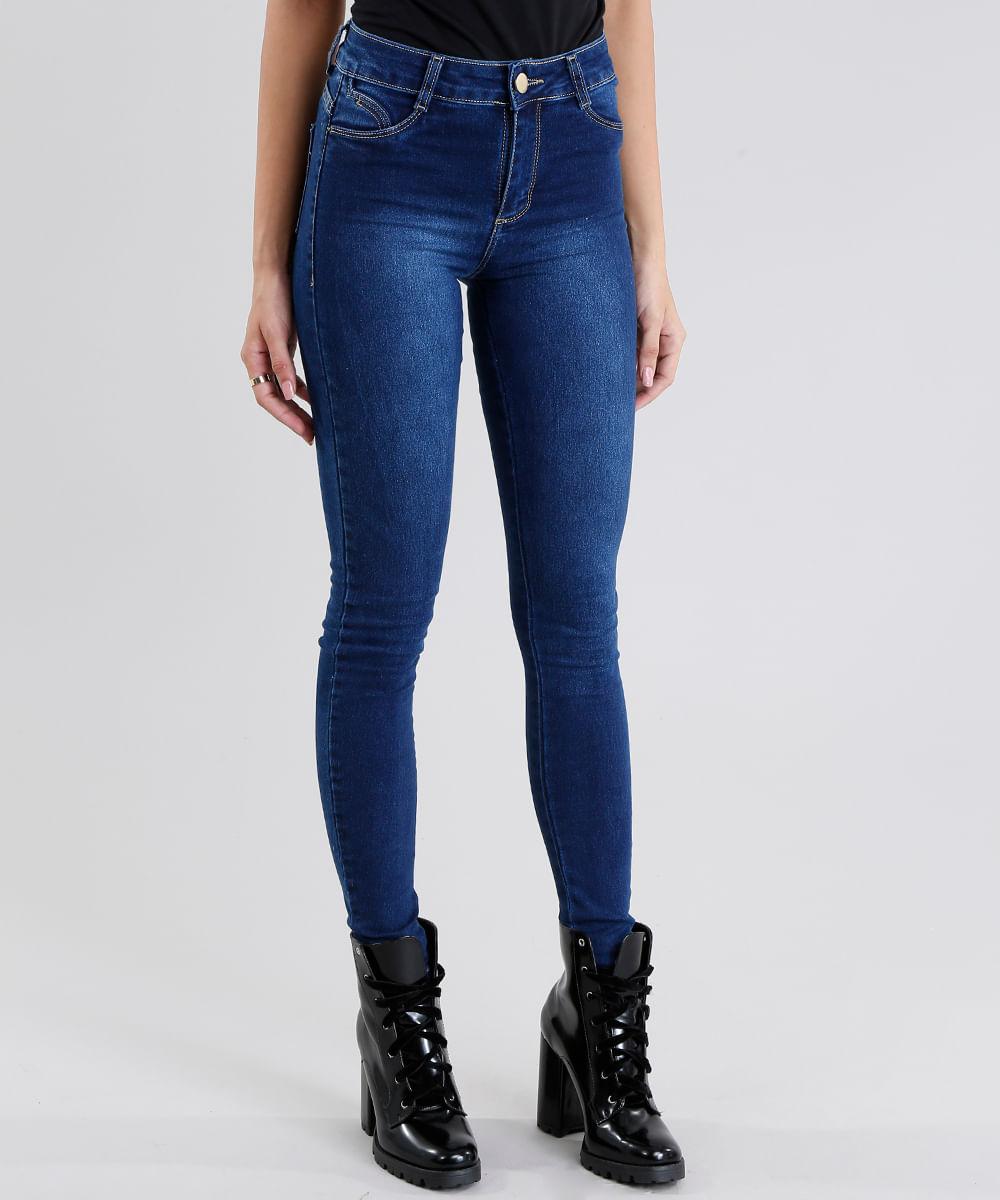 96560dbd1 Calça Jeans Feminina Super Skinny Sawary Azul Escuro - ceacollections