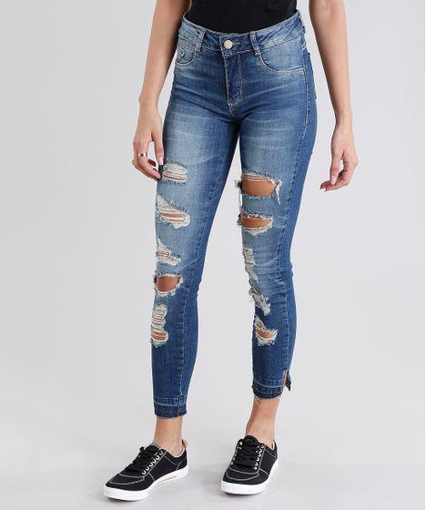 10abf961f Calça Jeans Feminina Super Skinny Sawary Destroyed Azul Escuro - cea