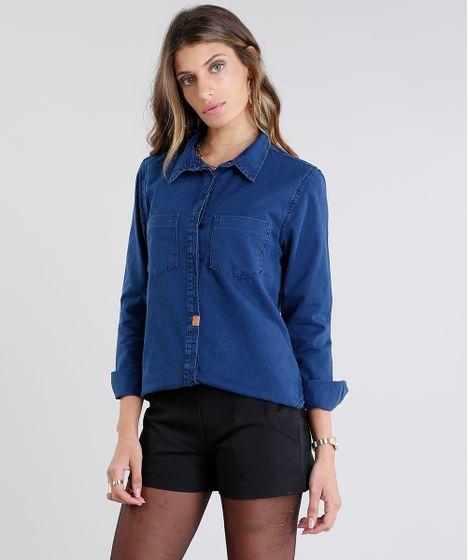 a2249f197b Camisa-Feminina-Jeans-Manga-Longa-Azul-Escuro-9099842- ...