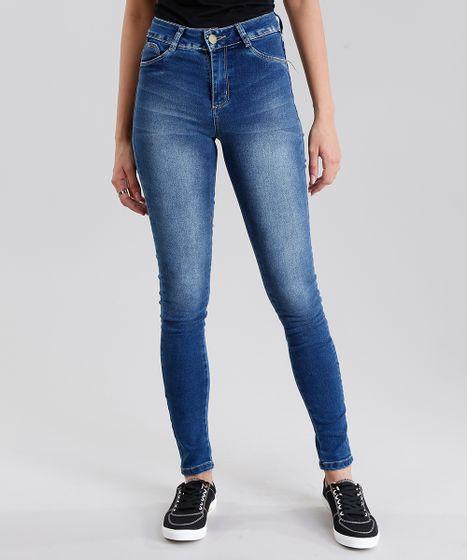38eef7ecd Calça Jeans Feminina Sawary Super Skinny Push Up Azul Médio - cea