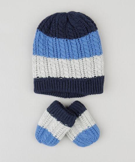 Kit-Infantil-de-Gorro-Listrado---Luvas-em-Trico-Azul-8489960-Azul_1