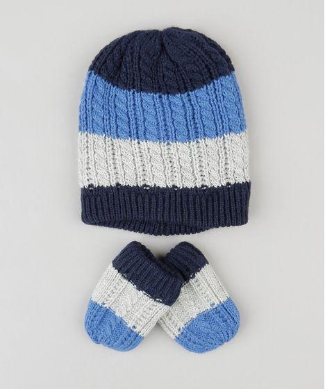 2cb281d5fd Kit Infantil de Gorro Listrado + Luvas em Tricô Azul Marinho - cea