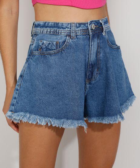 Short-Jeans-Feminino-Gode-Cintura-Super-Alta-Destroyed-com-Bordado-Azul-Medio-9982412-Azul_Medio_1