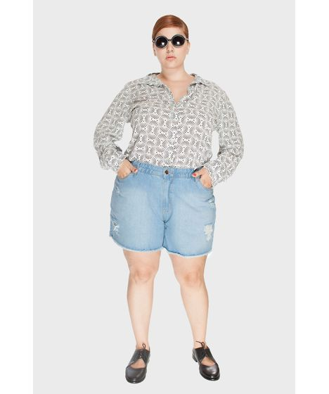 d2206952f Shorts Jeans Upcycle Delavê Plus Size - cea