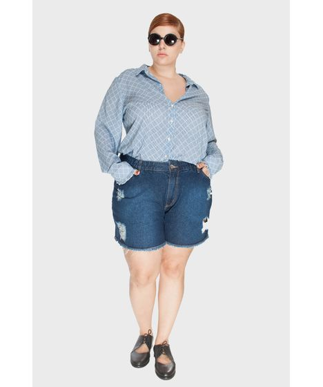 dac69ac2f Shorts Jeans Upcycle Stone Plus Size - cea