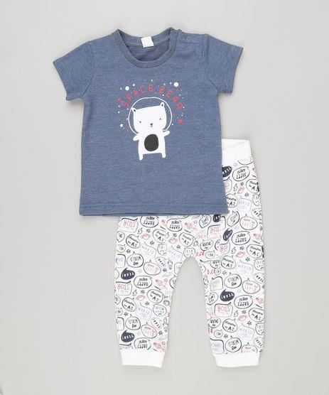 Conjunto-Infantil-de-Camiseta-Urso-Manga-Curta-Azul-Marinho---Calca-em-Moletom-Estampada-em-Algodao---Sustentavel-Branca-8870246-Branco_1