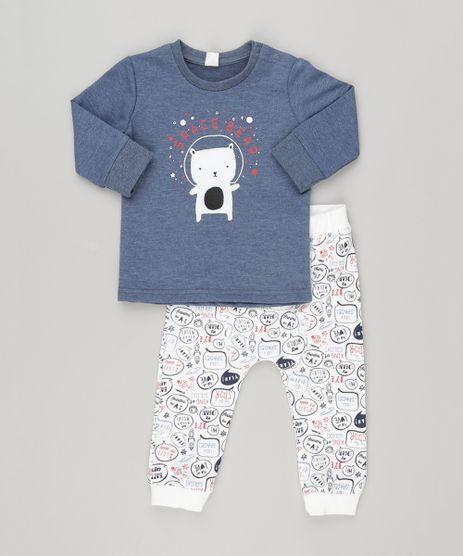 Conjunto-Infantil-de-Camiseta-Urso-Manga-Longa-Azul-Marinho---Calca-em-Moletom-Estampada-em-Algodao---Sustentavel-Branca-8870239-Branco_1