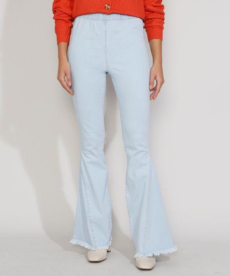 Calca-Jeans-Feminina-Cintura-Alta-Flare-com-Barra-Desfiada-Azul-Claro-9981730-Azul_Claro_1
