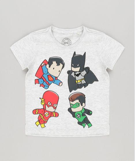 c6c08f522a Camiseta Infantil Heróis Liga da Justiça Cinza Mescla Claro - cea