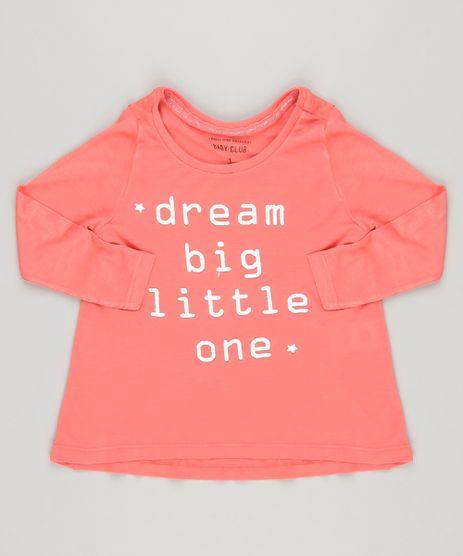 Blusa-infantil-com-Estampa--Dream-Big--com-Glitter-Manga-longa--Coral-9140895-Coral_1