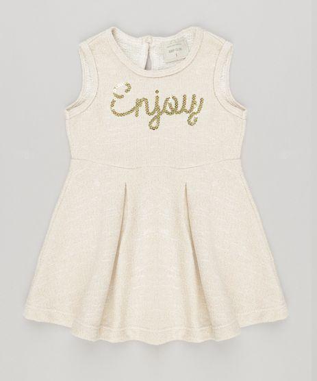 Vestido-Infantil--Enjoy--com-Lurex-e-Paetes-Sem-Manga-Bege-Claro-9040784-Bege_Claro_1