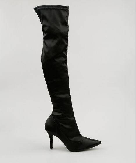 cd0b5f47c9f93 Bota Meia Vizzano Feminina Over the Knee Preta - cea
