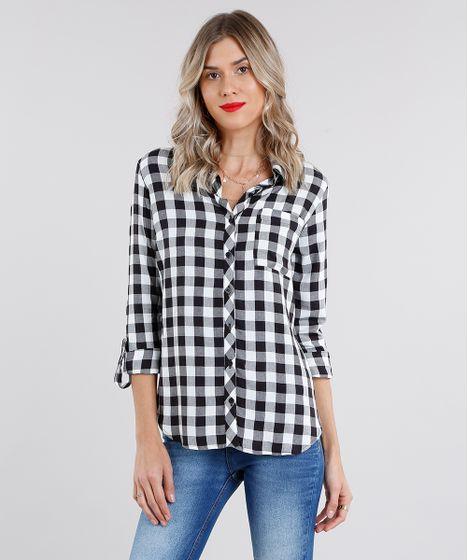 529632a48 Camisa Feminina Estampada Xadrez Manga Longa Off White - cea
