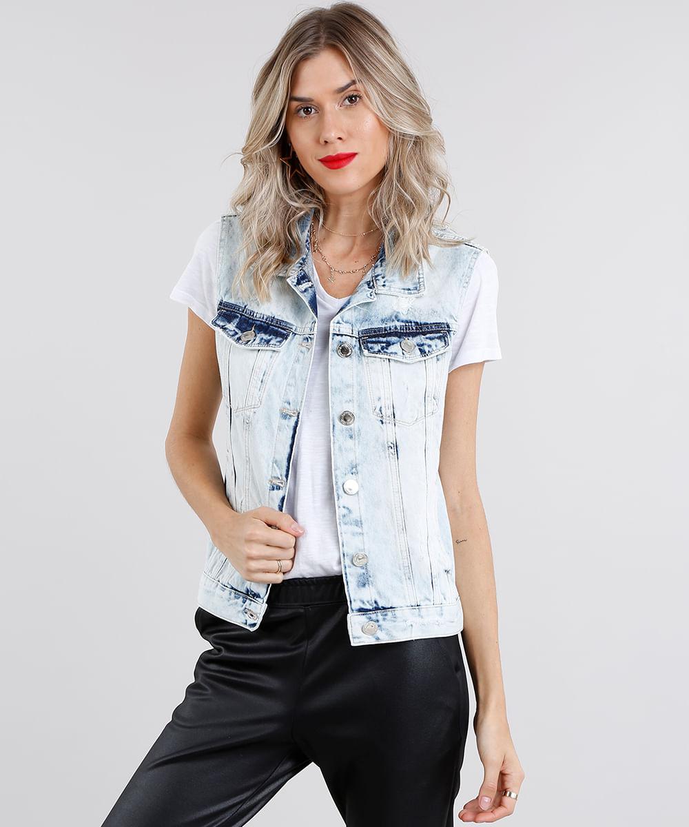 0e96d5ed03 ... Colete-Jeans-Feminino-Destroyed-Azul-Claro-9148051-Azul Claro 1