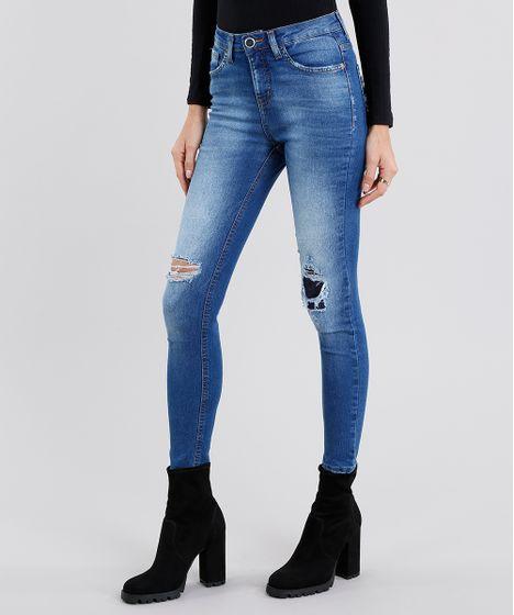 26451ba73 Calça Jeans Feminina Super Skinny Cintura Alta Destroyed Azul Médio ...
