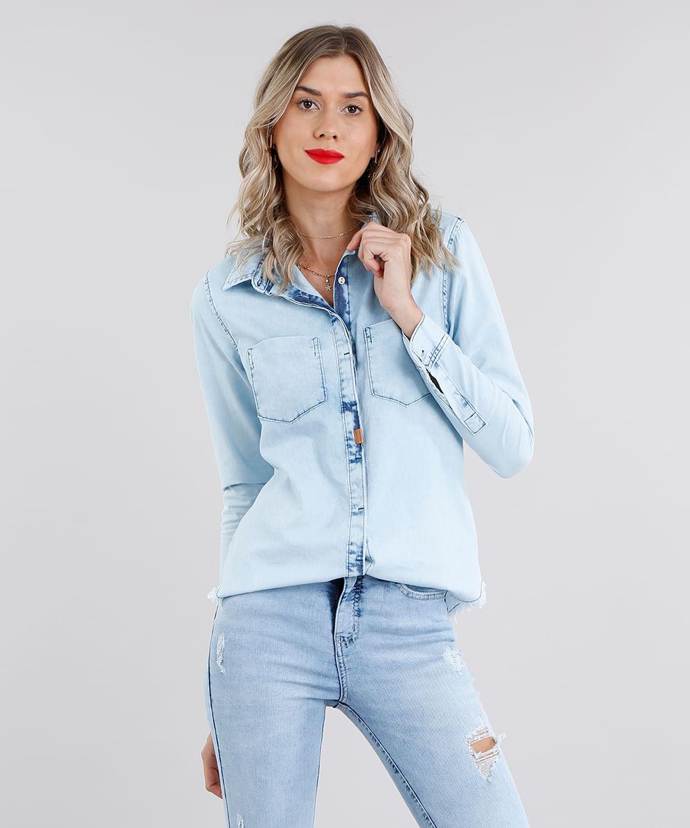 cfc69b5d11 ... Camisa-Jeans-Feminina-Manga-Longa-Azul-Claro-9099841-