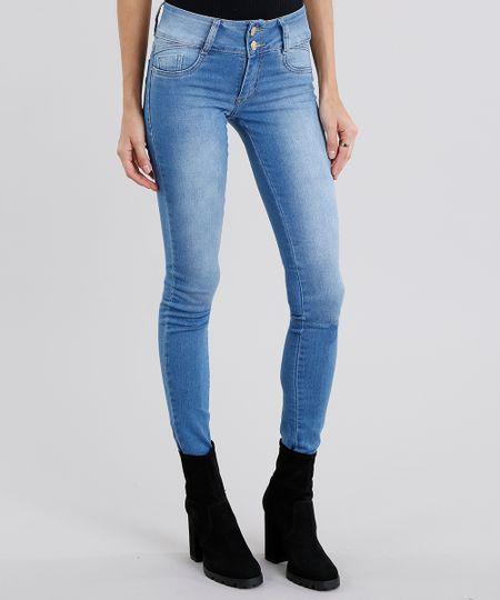 0c7d53fa4 Calça Jeans Feminina Super Skinny Sawary Azul Claro | Menor preço ...