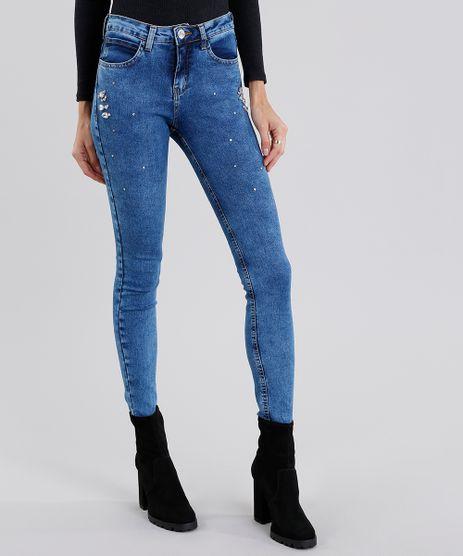 Calca-Jeans-Feminina-Super-Skinny-com-Strass-Azul-Medio-9151857-Azul_Medio_1