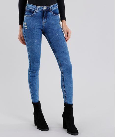 59a1cbac5 Calça Jeans Feminina Super Skinny com Strass Azul Médio - cea