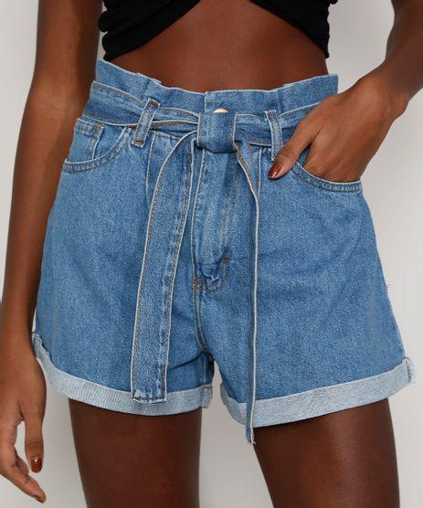 Short Jeans Clochard Cintura Alta de Amarrar Feminino Azul Frente