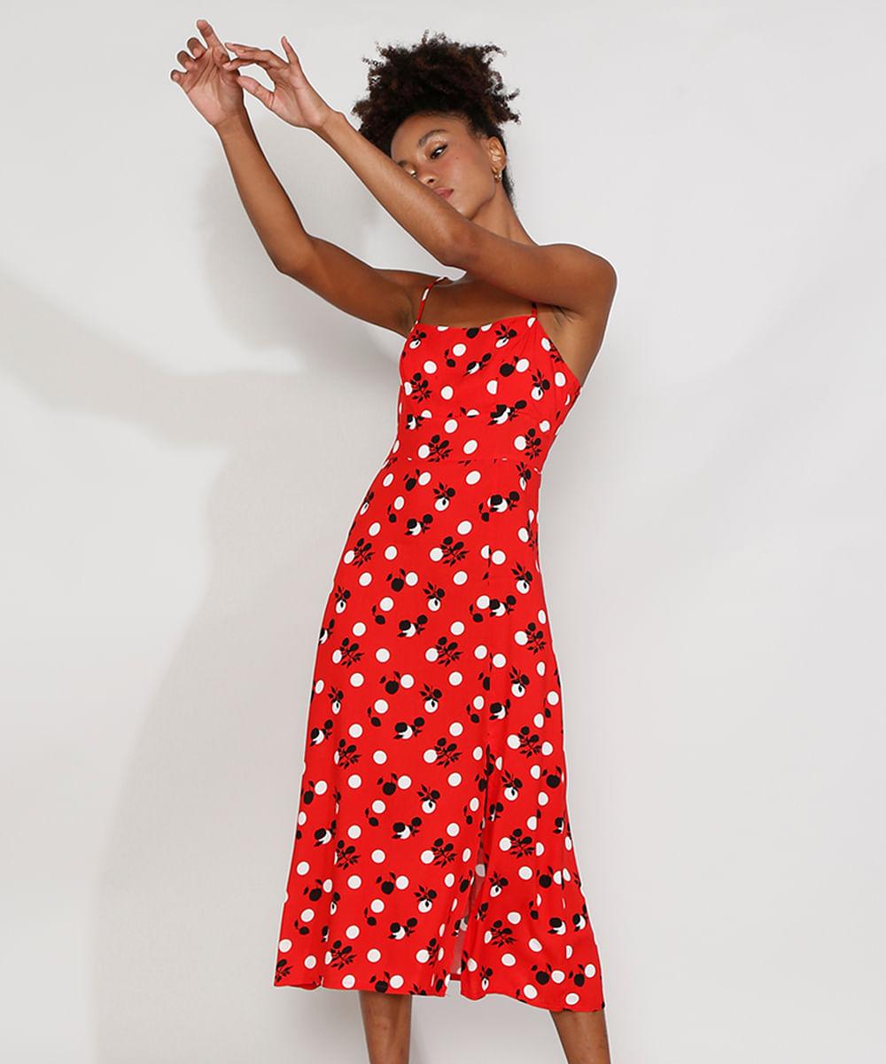Vestido Feminino Mindset Midi Estampado Floral Poá com Fenda Alça Fina Vermelho