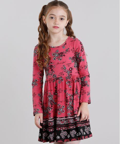 893950511 Vestido Infantil Estampado Floral Manga Longa Curto Rosa Escuro - cea