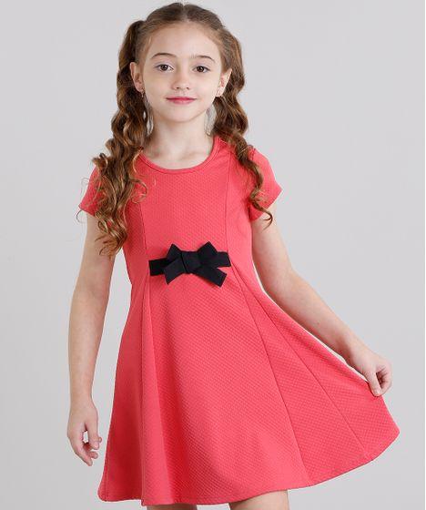 86fa07c3e Vestido Infantil com Laço Texturizado Curto Manga Curta Rosa Escuro ...