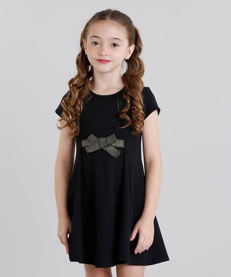 Vestido-Infantil-com-Laco-Texturizado-Curto-Manga-Curta-Preto-9041154-Preto_1