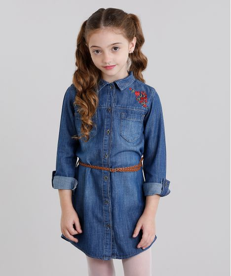 0bb7bf71a Vestido Jeans Infantil Chemise com Bordado Floral Manga Longa + ...