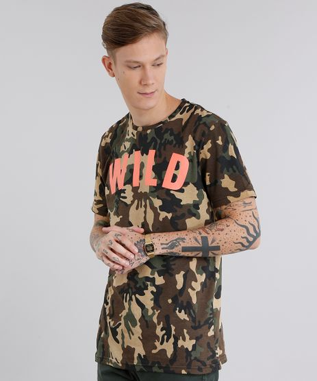 Camiseta-Masculina-Longa-Estampada-Camuflada--Wild--Manga-Curta-Gola-Redonda-Marrom-8703729-Marrom_1