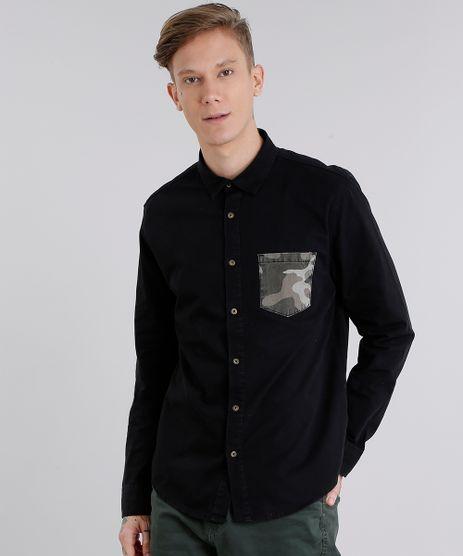 Camisa-Masculina-com-Bolso-Estampado-Camuflado-Manga-Longa-Preta-9123426-Preto_1