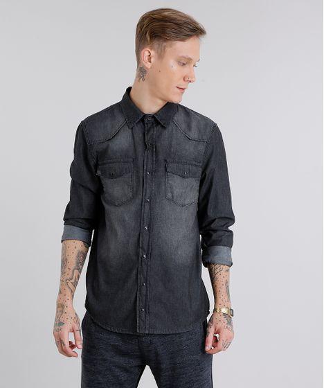 4426741a2d Camisa-Jeans-Masculina-Manga-Longa-Preta-8640060-Preto 1 ...