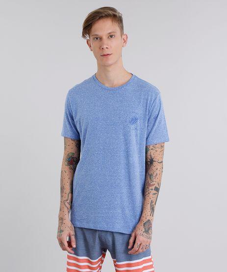 Camiseta-Masculina-com-Estampa-de-Folhagem-Manga-Curta-Gola-Careca-Azul-9058182-Azul_1
