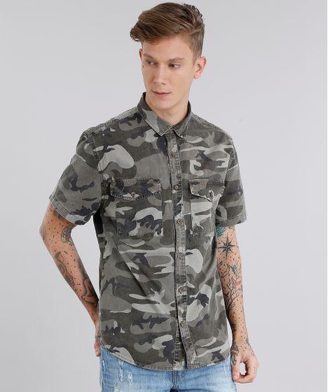 Camisa Masculina Estampada Camuflada Manga Curta Verde Militar - cea 15a39d7247d
