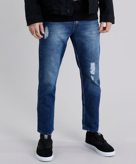 Calca-Jeans-Masculina-Tapered-Destroyed-Azul-Escuro-9110307-Azul_Escuro_1