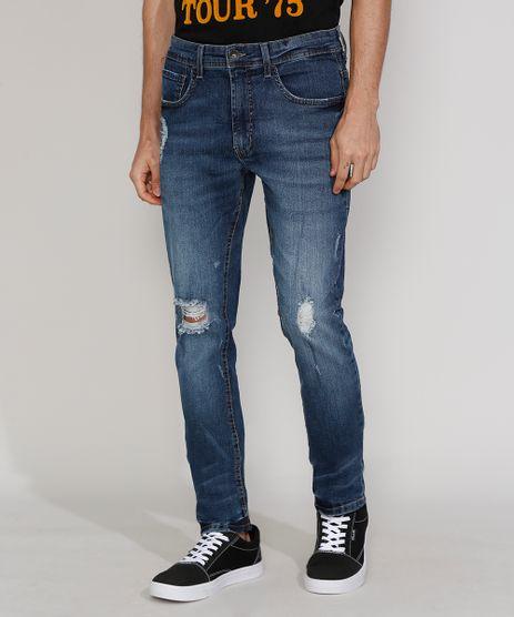 Calca-Jeans-Masculina-Skinny-com-Rasgos-Azul-Escuro-9967326-Azul_Escuro_1