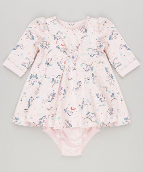 Vestido-Infantil-Estampado-de-Unicornio-com-Laco-Manga-Longa---Calcinha-Rosa-Claro-9137715-Rosa_Claro_1