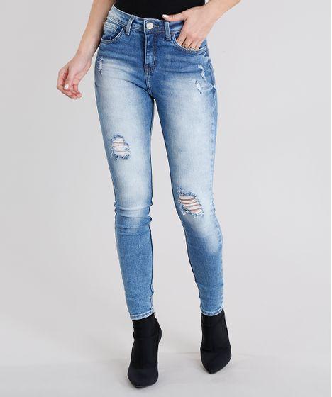 aa5a1b48f Calça Jeans Feminina Super Skinny Cintura Alta Destroyed Azul Claro ...