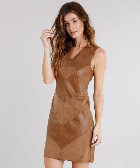 Vestido-Feminino-com-Recortes-Geometricos-em-Suede-Curto-Decote-V--Caramelo-8499837-Caramelo_1