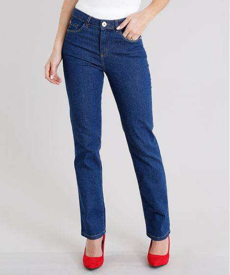 7cafd94b7 Calça Jeans Feminina Reta Cintura Alta Azul Escuro - cea