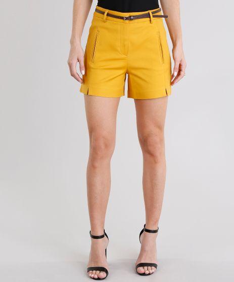 Short-Feminino-Alafaiataria-Curto-com-Cinto--Amarelo-Escuro-8886816-Amarelo_Escuro_1