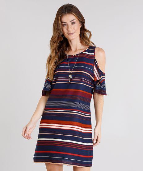 Vestido-Feminino-Open-Shoulder-Listrado-Curto-com-Babado-Azul-Marinho-8921225-Azul_Marinho_1