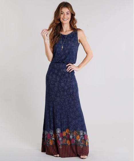 c8d63eb5a2 Vestido Longo Feminino Estampado Floral com Alça Azul Marinho - cea