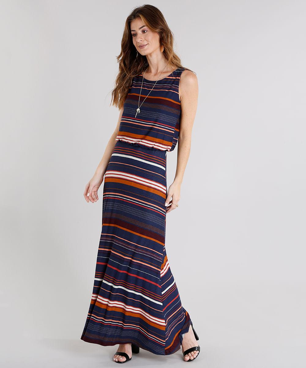 a1deee8b962 Vestido Longo Feminino Listrado com Alça Azul Marinho - cea