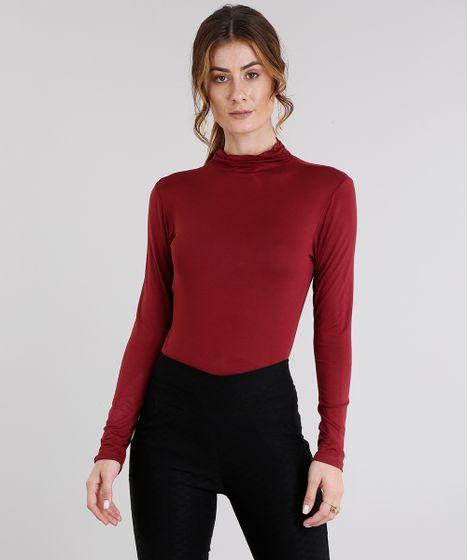 d01dec951dfc8 Blusa feminina básica manga longa gola alta vinho cea jpg 468x560 Camisa  vinho feminina