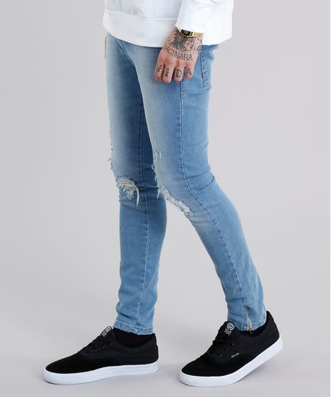 e7c1a3663 Calça Jeans Masculina Super Skinny Destroyed Eco Recycle com Zíper ...