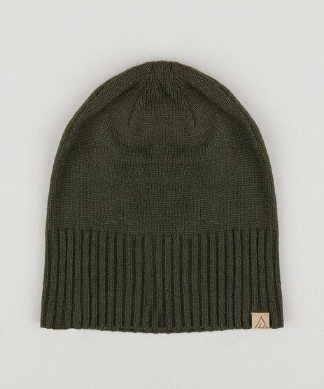 Gorro-Masculino-Basico-em-Trico-Verde-Militar-8903284- 90728fead78